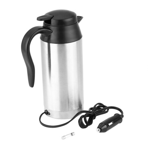 Car Electric Kettle 750ml 12V Car Stainless Steel Cigarette Lighter Heating Kettle Mug Electric Travel Thermoses