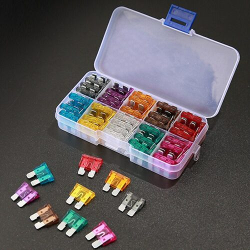 100PCS Car Fuses 2A 3A 5A 7.5A 10A 15A 20A 25A 30A 35A Amp with Box Clip Assortment Auto Blade Type Fuse Set Truck Auto Fuse Set